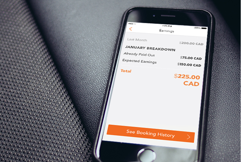 An iPhone displaying a screen that shows the money the spot owner got sharing a parking spot on the app.